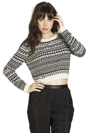 Cropped Jacquard Sweater | BCBGeneration | bcbgeneration ...