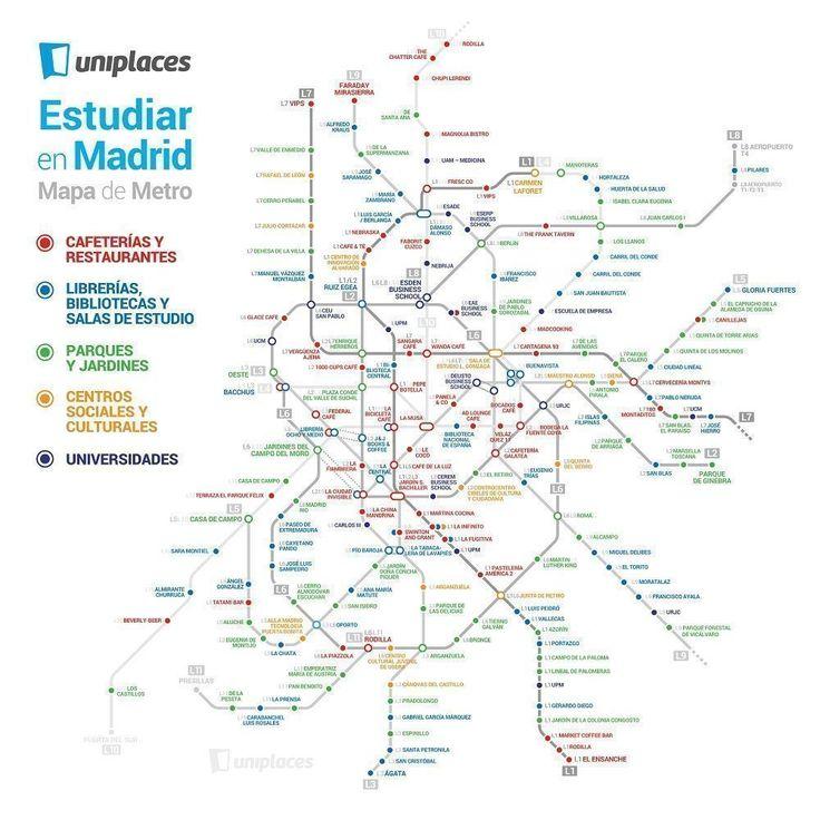 Uniplaces ha elaborado un plano de metro de Madrid con los mejores sitios para estudiar en Madrid. Cafeterías, restaurantes, bibliotecas, parques, etc.