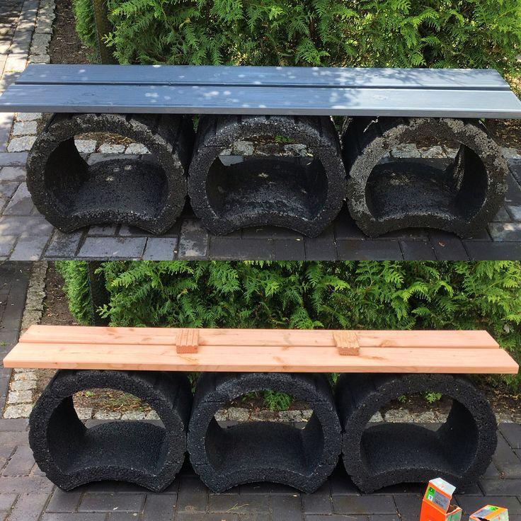 Gartenbank aus alten Pflanzkübeln und Resten von Terassendielen
