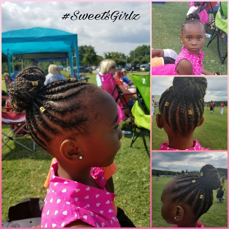 Cute protective style for kids, cornrows bun beautiful #back2school2017