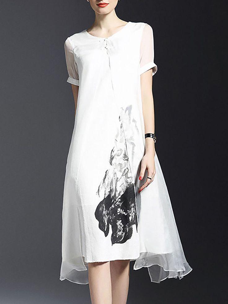 Asymmetric Silk Midi Dress LONYUASH - stylewe.com