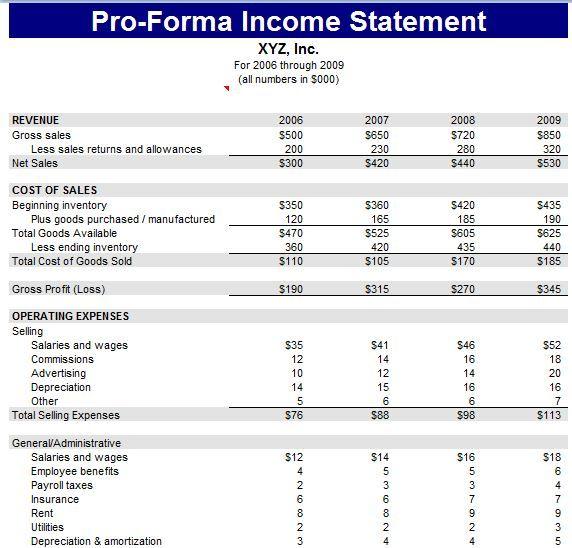Pro Forma Income Statement Template Income Statement