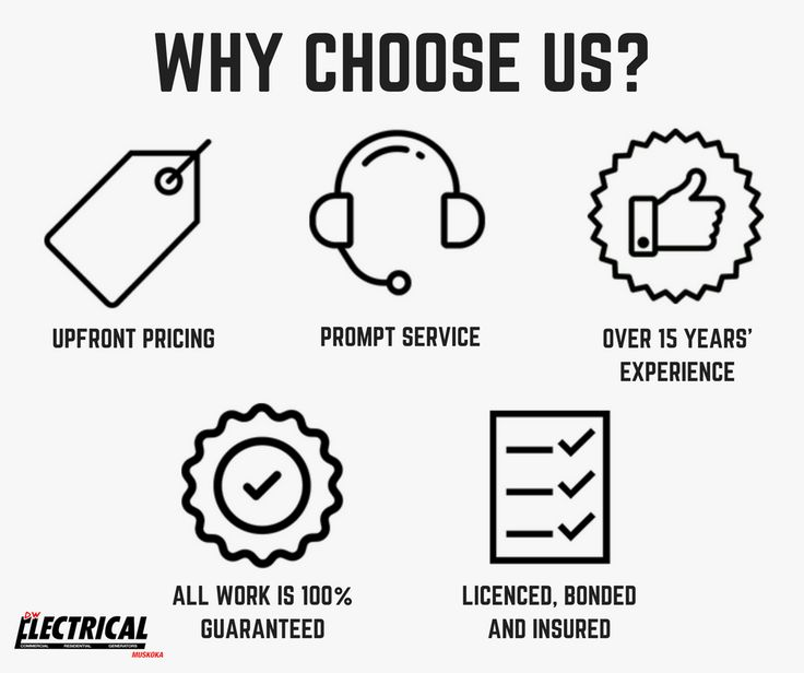 Why should you choose DW Electrical in Muskoka?  • Upfront Pricing • Prompt Service • Over 15 Years' Experience • All Work is 100% Guaranteed • We are Licensed, Bonded and Insured  Contact us today for a free and accurate quote.