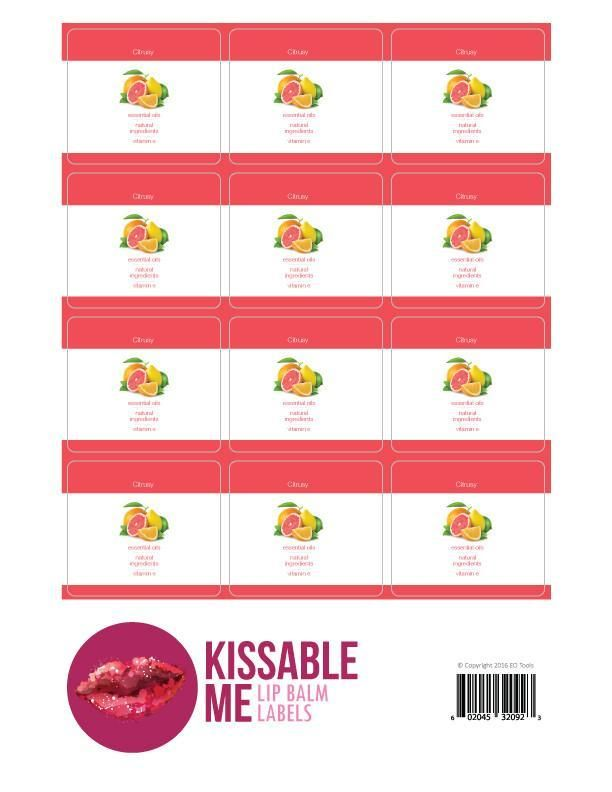 Kissable Me Citrusy Lip Balm Label Sheet
