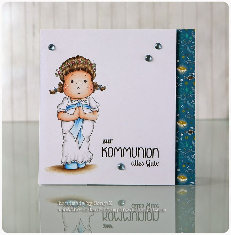 "Kommunionkarte | card for a First Communion - Magnolia ""Lucia Tilda"", Stempelküche ""Große Momente"", Copics"