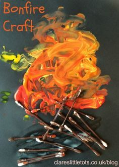 bonfire night craft idea for toddlers and preschoolers, messy and fun.