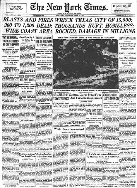 Prophetic headline, more than 50 years before the plant blew up near Waco, TX. #Explosions #NYTimes #WacoTX