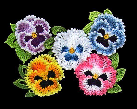 Crochet Flower Pin Modern Irish Crochet Pansy Pin, Fiber Art Crochet Jewelry, Ready to Ship