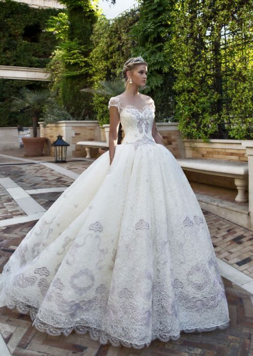 Glamorous cap sleeve silver embroidered princess ballgown wedding dress; Featured Dress: Alessandra Rinaudo
