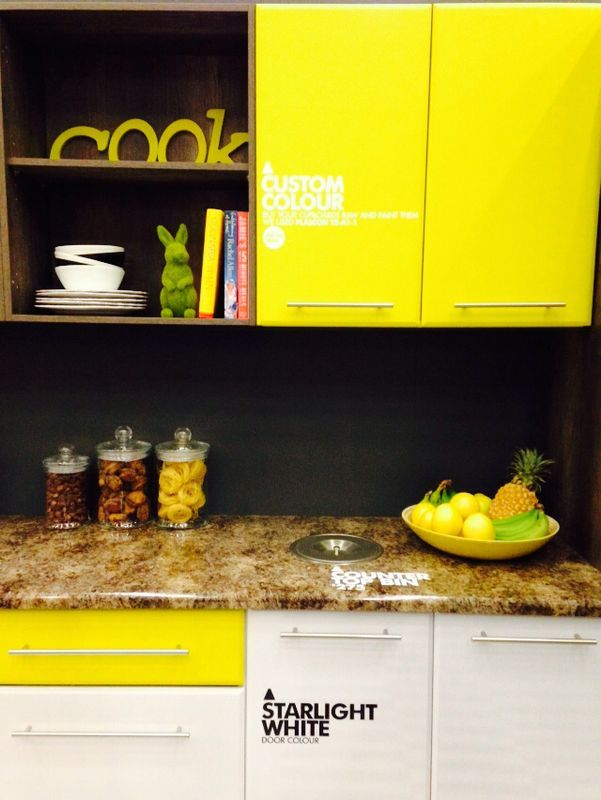 Painted raw top units with Starlight white base units. Quirky and fun @ designsbyday.net