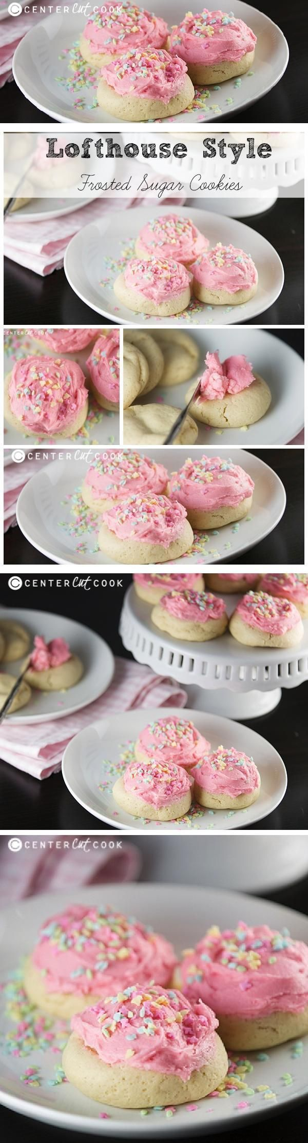 Super soft Lofthouse style Sugar Cookies, a copycat recipe, made from scratch with that irresistible frosting and sprinkles!
