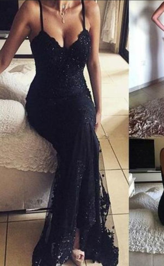 a2ea807fb17 Lace Vintage V-Neck Long Mermaid Spaghetti Straps Beaded Sexy Prom Dresses  Sequin Prom Dresses