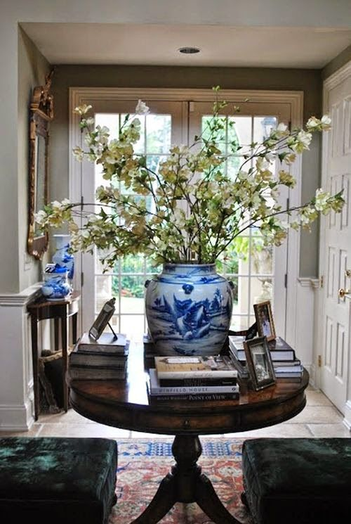 foyer table with blue and white...