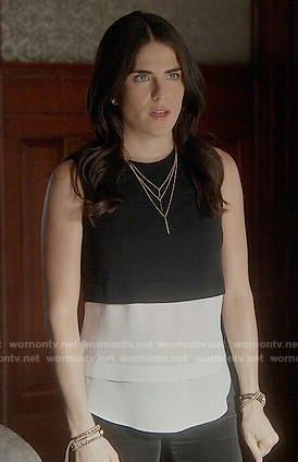 Laurel's black and white layered top on How to Get Away with Murder.  Outfit Details: http://wornontv.net/53899/ #HTGAWM
