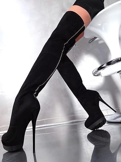 Made in Italy Extreme High Heels Overknee Plateau Stiefel Boots Leder Schwarz | eBay #hothighheelsstilettos
