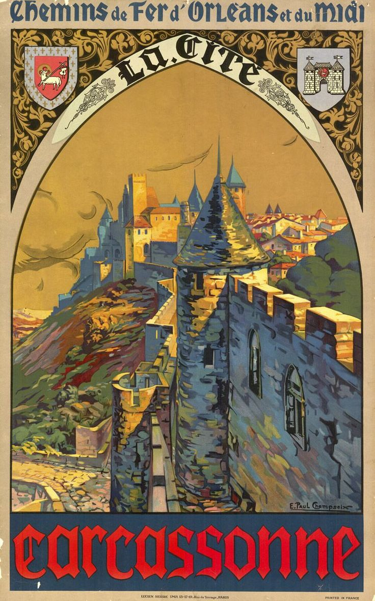 Carcassone, France //.,mar16_________________________ #Vintage #Travel #Poster