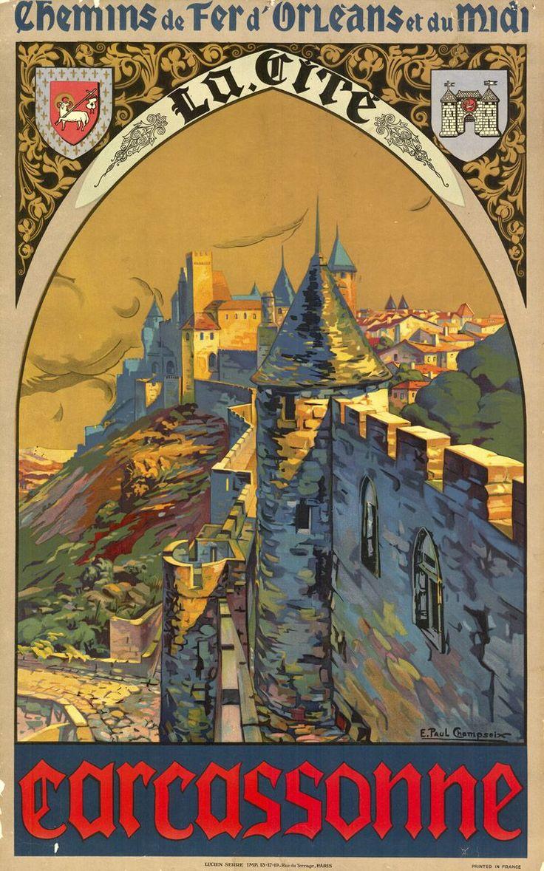 Carcassone, France _________________________ #Vintage #Travel #Poster Más                                                                                                                                                                                 Más