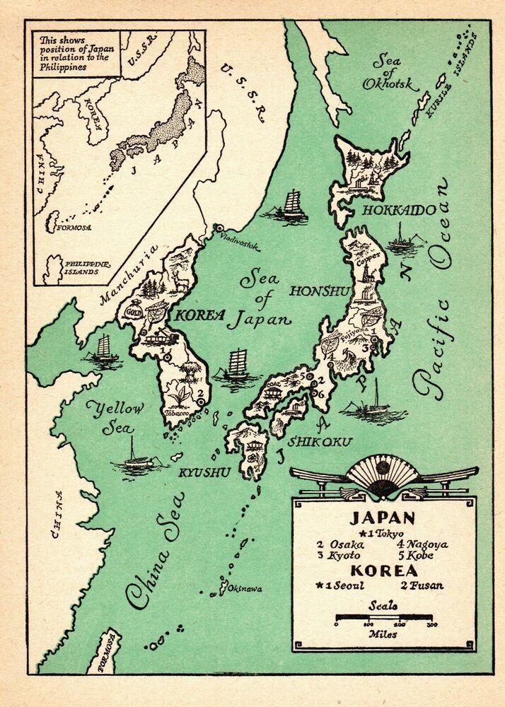 1946 Antique Animated Map of JAPAN and KOREA Map Rare Cartoon Map ...