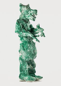 Terry Williams, Not titled (green animal/man) 2010 ceramic © Artist Represented by Arts Project Australia