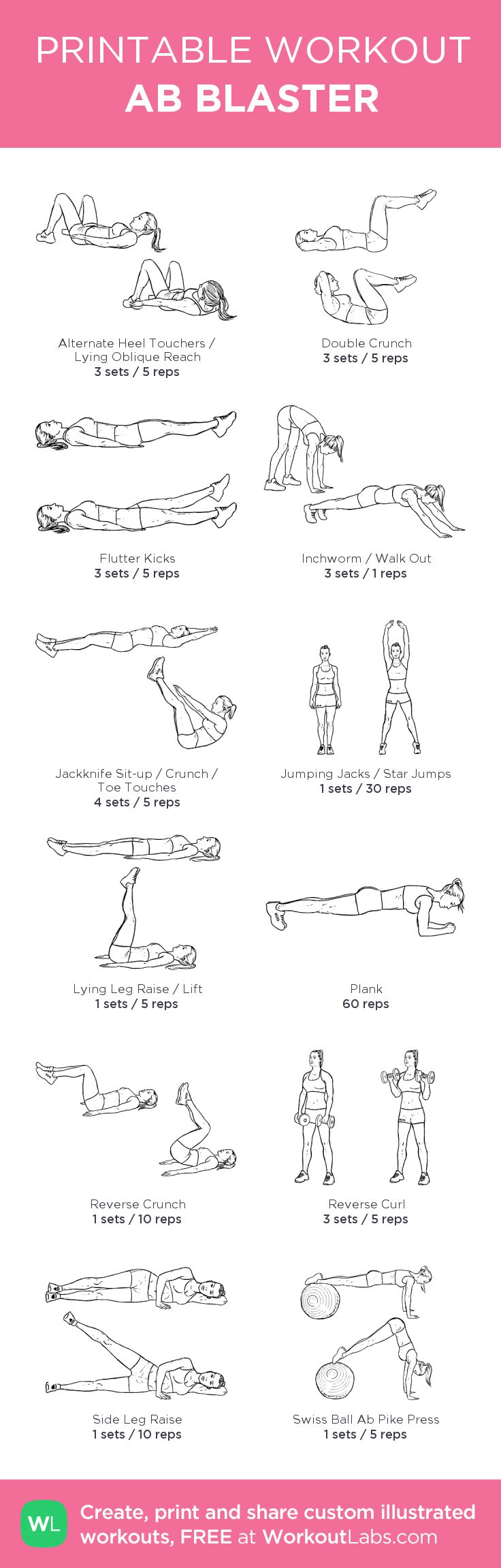 AB BLASTER –my custom workout created at WorkoutLabs.com • Click through to download as printable PDF! #customworkout