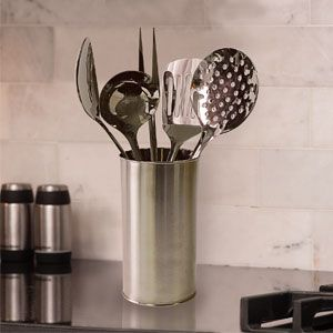 Stainless Steel Kitchen Tools (Set Of 6) - Keep all your utensils at easy reach on the kitchen counter. This space-saving and stylish brushed metal utensil crock comes with 5 of your most important everyday kitchen utensils; large ladle, spatula, skimmer, meat fork and serving spoon. Dishwasher safe. (Product Number PM31754) $39.98 CAD www.davesgift.shopregal.ca