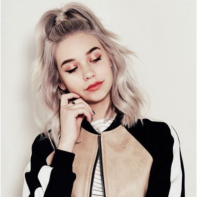 25 unique short hair ponytail ideas on pinterest short hair platinum hair with lavender hues makeup on point pmusecretfo Choice Image