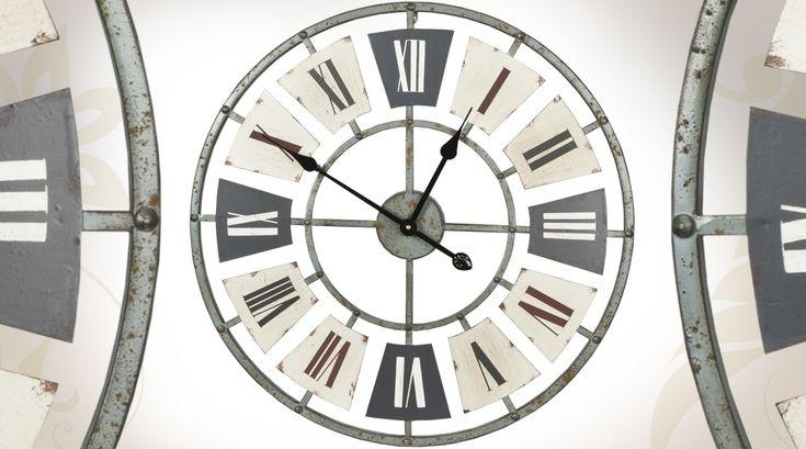 Grande horloge murale en m tal de style industriel 60 cm meubles industri - Horloge type industriel ...