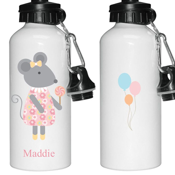Personalised water bottle, cute little mouse design, printed both sides - pinned by pin4etsy.com