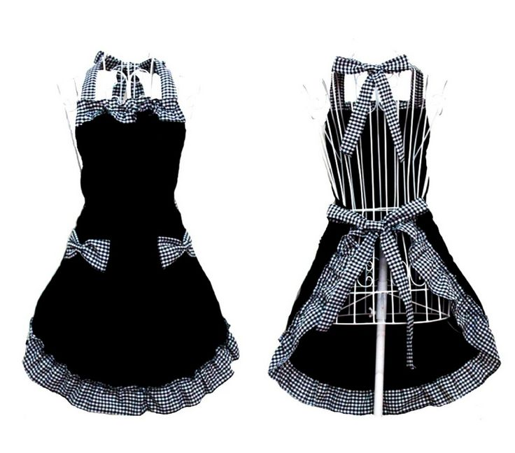 Cute Retro Lovely Vintage Lady S Kitchen Fashion Flirty Women S Aprons With Pockets Black Patterns For Mother S