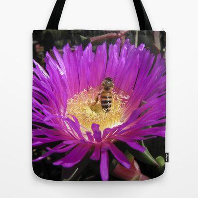 Purple flower with Honey Bee by Deborah Janke