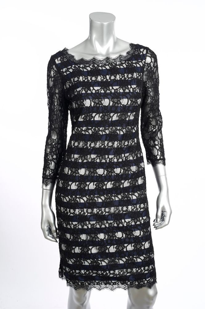 e31b4ca05283 Joseph Ribkoff Navy White Black Lace Stripe Cocktail Dress US10 UK12 NEW  171532