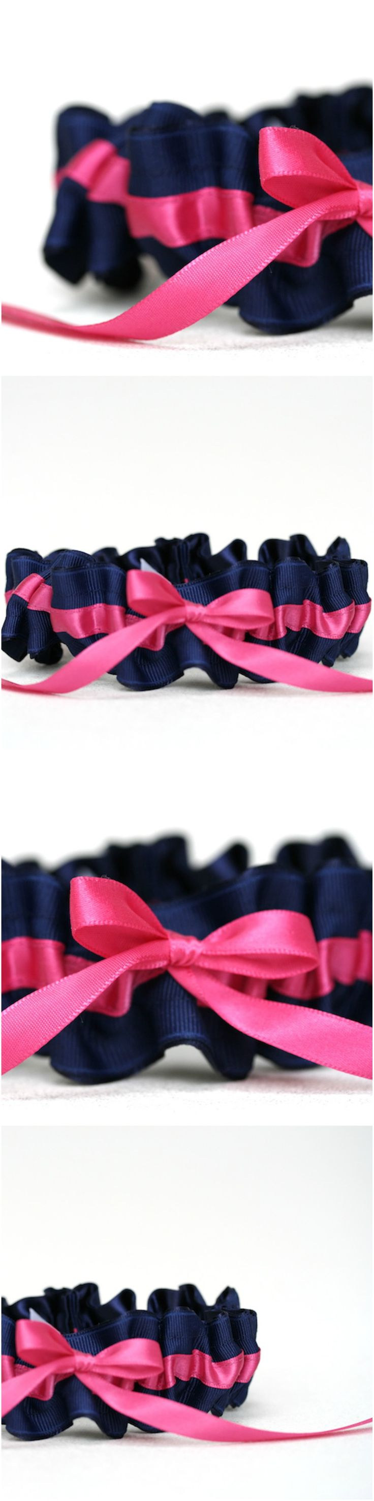 Custom Navy Blue and Hot Pink Wedding Garter-by The Garter Girl