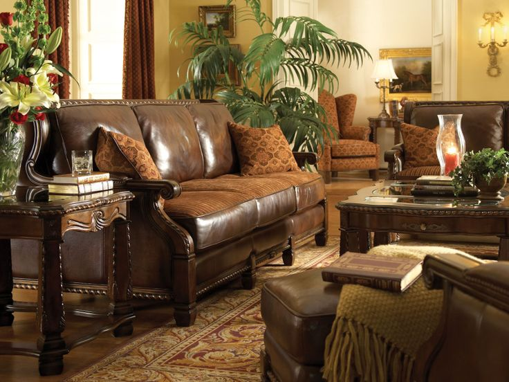 Aico furniture windsor court wood trim leather sofa in brown with fabric seat in brick