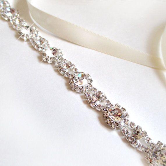 Scalloped Silver Rhinestone Bridal Headband - Silver - White or Ivory Satin Ribbon - Silver and Crystal - Extra Long Wedding Dress Belt