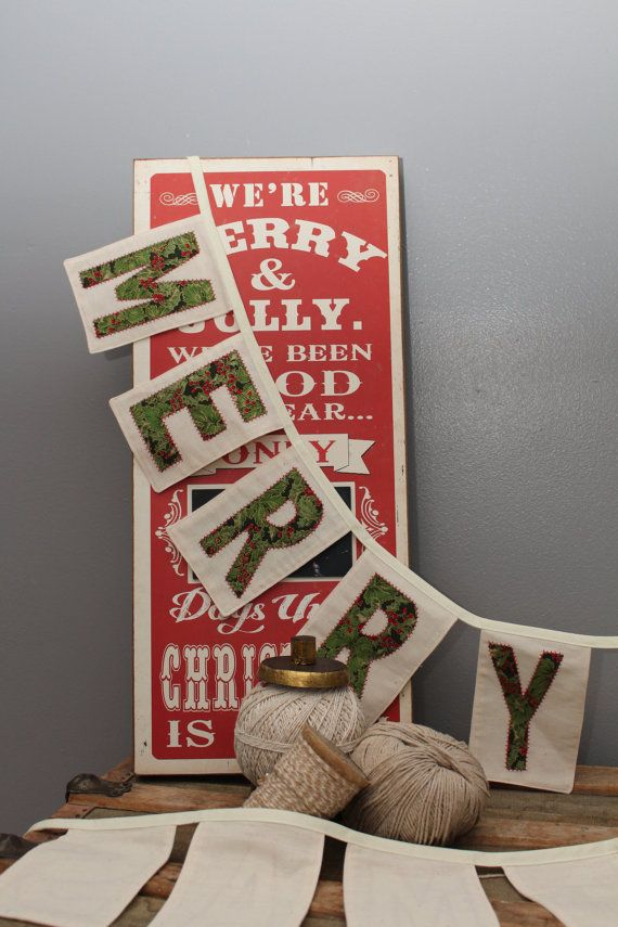 Merry Christmas Fabric Banner in Greens with Red accent