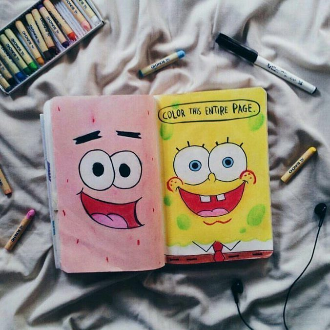 "223 Likes, 1 Comments - Wreck this journal (@wreckthisjournalwithlove) on Instagram: ""❤ #wreckthisjournal #wtj #journal #art #spongebob #patrick #kerismith"""