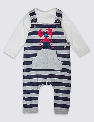 2 Piece Pure Cotton Dungaree Outfit | M&S