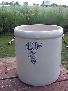 Antique Stoneware Pickle Crock White Hall Large No 10 With