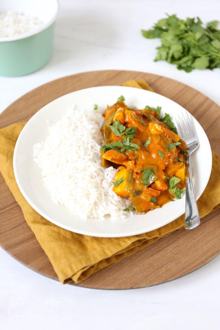 Rode curry met peultjes en mango