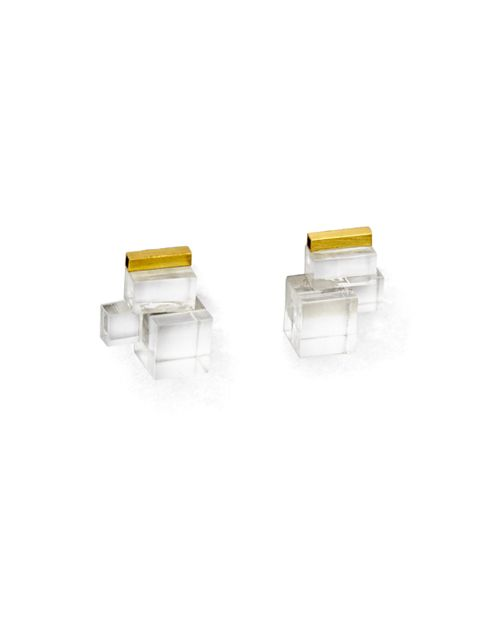 TURINA- CRY-4.2 CRYSTALS Earrings from transparent acrylic glass (recycled) and pure brass. 39€ via http://turinajewellery.com/shop/crystals/cry-4-2/