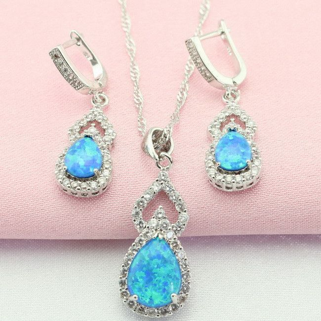 Geometric Blue Australia Opal White Topaz 925 Silver Jewelry Sets Drop Earrings Pendant/Necklace For Women Free Gift Box