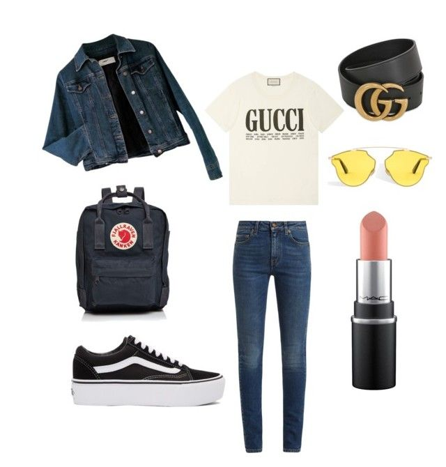 """Spring look"" by kaoutar-rayour on Polyvore featuring Gucci, Moschino, Yves Saint Laurent, Vans, Fjällräven, Spring, jeans, gucci and fashion18"
