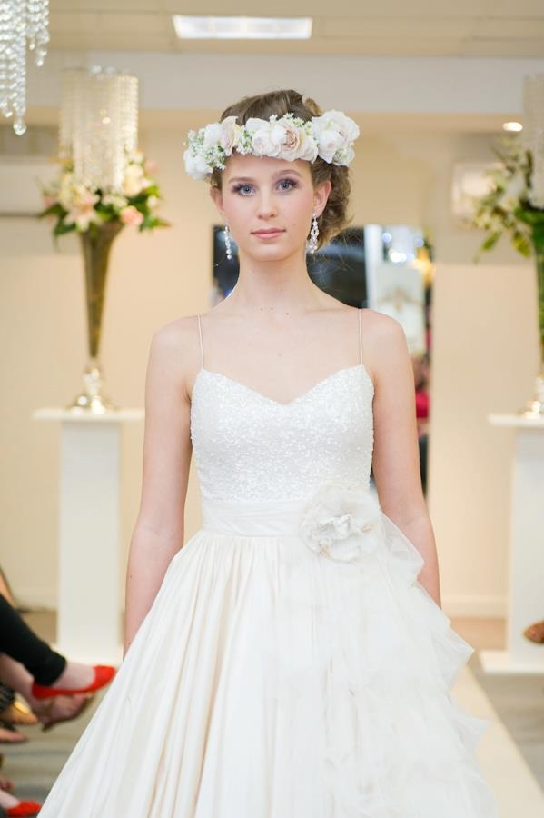 Elizabeth de Varga Nikki gown silk dupion and sequin georgette with real flower crown from Mondo floral designs