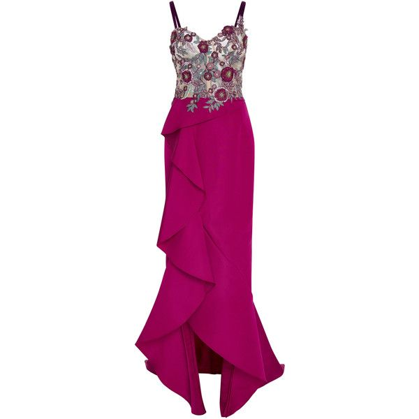 Marchesa Embroidered Bustier Gown ($4,995) ❤ liked on Polyvore featuring dresses, gowns, marchesa, purple, velvet dress, purple bustier, embroidered dress, velvet evening dress and velvet ball gown