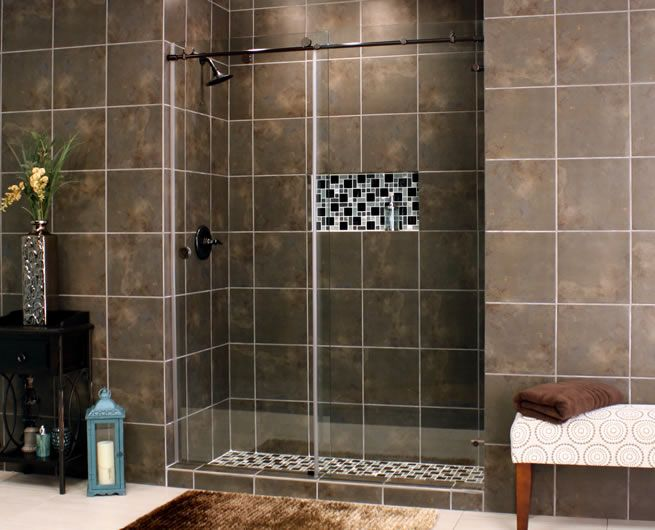 Skyline Frameless Shower Glass With Bronze Hardware