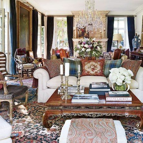 Bedford Living Room : Ralph Lauren's Chic Homes and Office : Architectural Digest