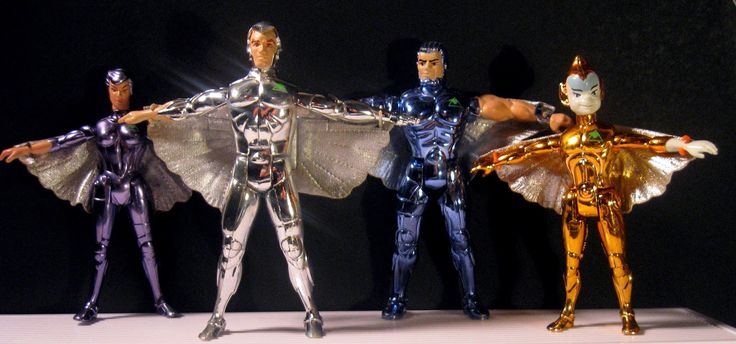 """From left to right: the Steelheart, Quicksilver, Steelwill, and Copper Kid action figures from the """"Silverhawks"""" line of toys"""