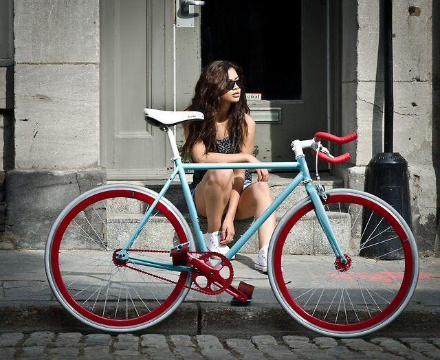 baby blue turquoise fixie bike red wheels white saddle fixie girl