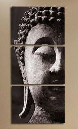 Free shipping 3 Panel Wall Art Religion Buddha Oil Painting On Canvas Framed Room Panels For Home Modern Decoration art picture