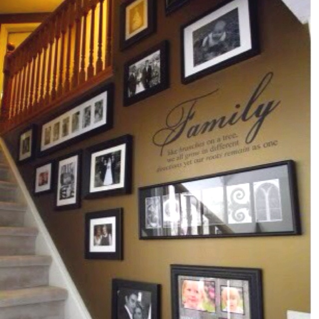 Family Photo Decor Ideas Part - 48: Family Portrait Wall... Iu0027m Liking The Colors Of The Wall